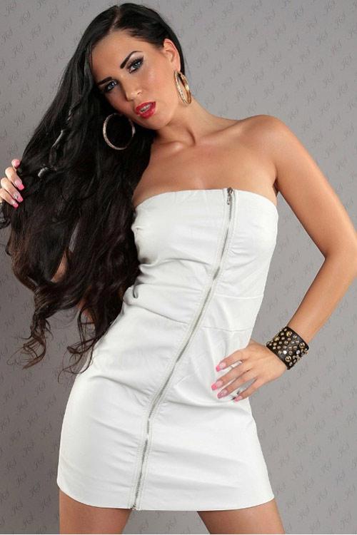 Šaty bílé barvy koženého vzhledu - imitace kůže