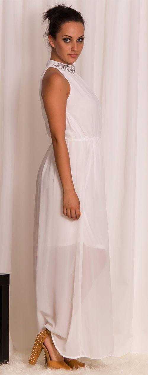Bílé dlouhé šaty se stříbným zdobením