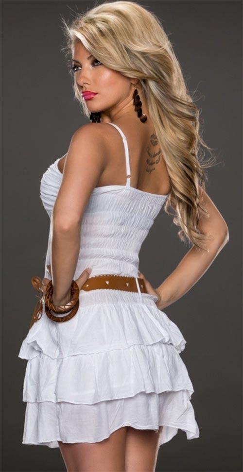 Bílé šaty s volánkovou sukní