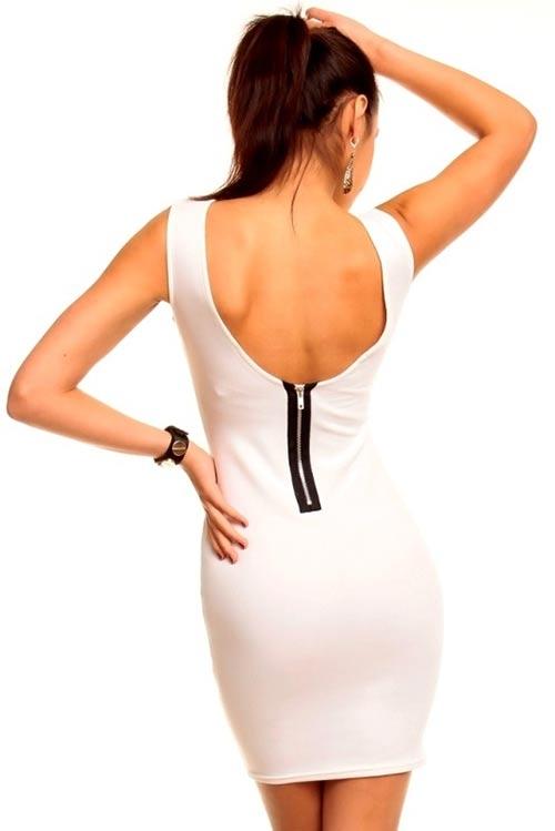 Bílé dámské šaty se zipem