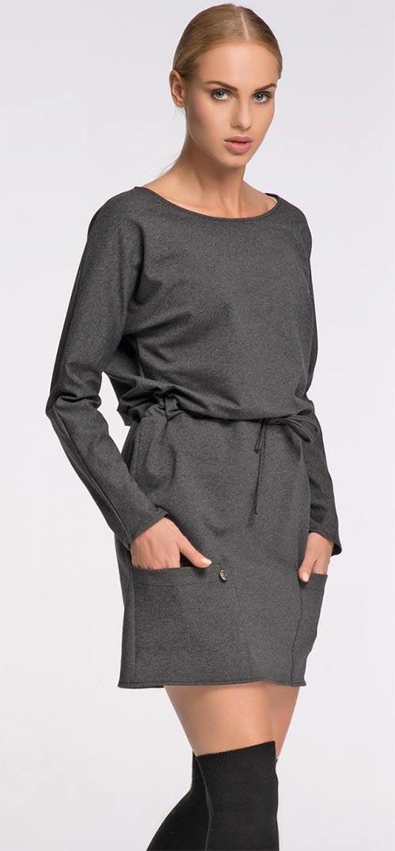 Dámské šaty volného střihu s dlouhým rukávem
