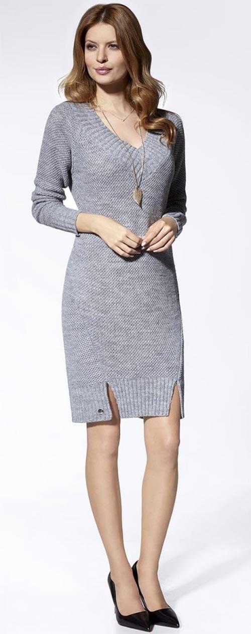 Hřejivé šedé pletené šaty k legínám