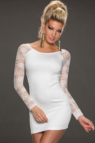 Bílé dámské minišaty s dlouhým krajkovým rukávem