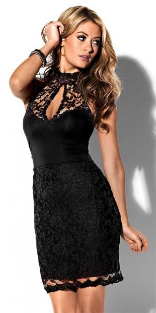 Černé krajkové společenské šaty ve velikostech pro plnoštíhlé