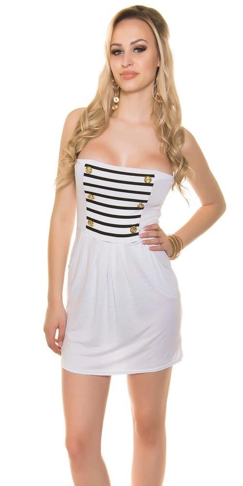 Levné bílé dámské letní mini šaty nad prsa (bez ramínek)