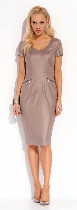 Luxusní lněné šaty Karissa s kapsami na zip