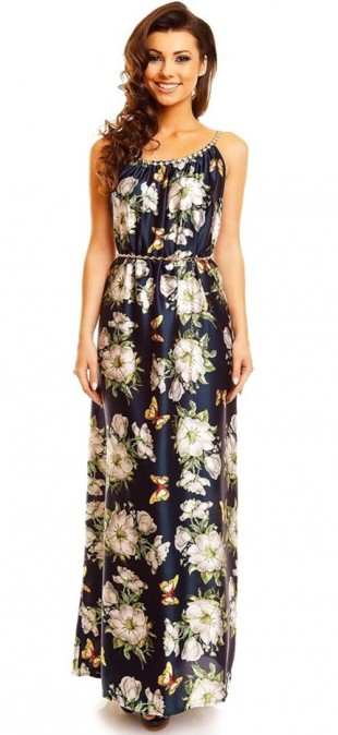 Tmavě modré dlouhé šaty s barevným potiskem květin