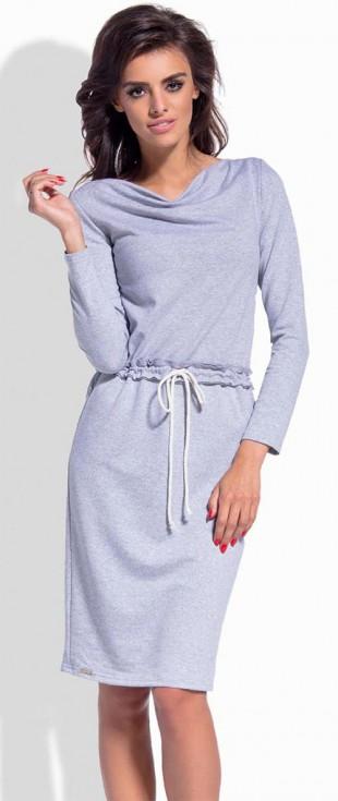 Bavlněné midi šaty Lemoniade s dlouhými rukávy a na tkaničku v pase