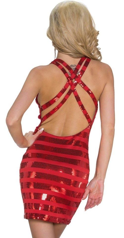 Červené mini šaty s odhalenými zády