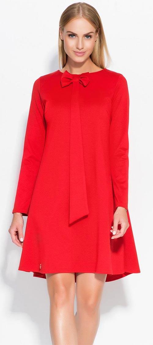 Červené volné společenské retro šaty