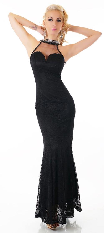 Dámské dlouhé krajkové plesové šaty