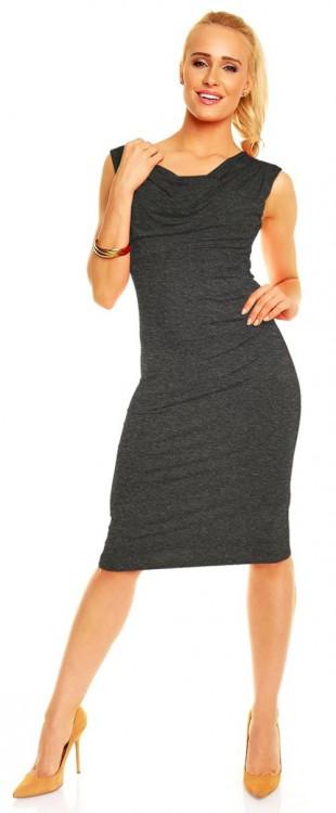 Lehounké dámské šaty s širšími ramínky a vodopádovým výstřihem