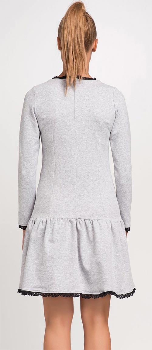 Podzimní šedé šaty s krajkovým lemem