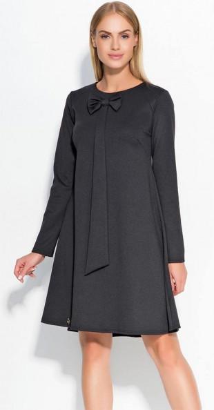 Stylové dámské šaty s dlouhým rukávem s kravatou s mašlí