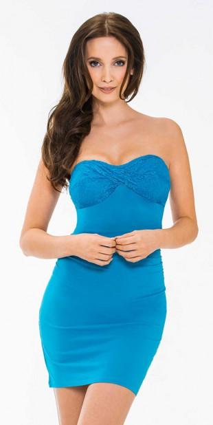 Světle modré plesové šaty bez ramínek KissMe