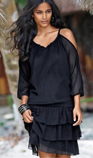 Černé volánové šaty s 3/4 raglánovými rukávy