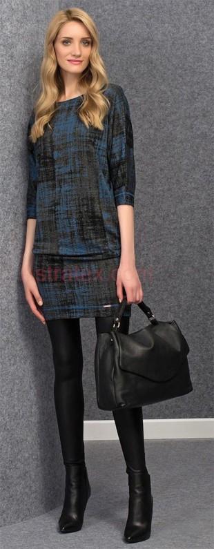 Moderní dámské luxusní žíhané šaty Onita Blue