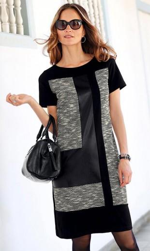 Módní černo-šedé zimní šaty padnoucí i silnější postavě