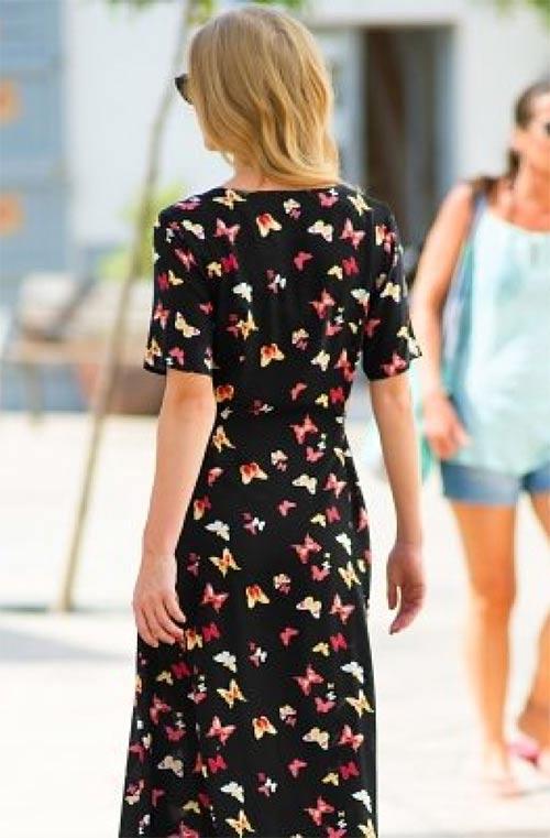 Černé letní šaty s potiskem motýlů