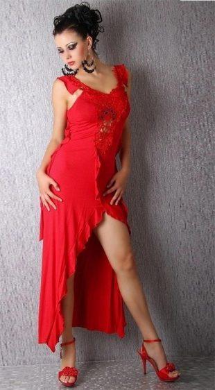 Červené dlouhé šaty s vysokým volánkovým rozparkem