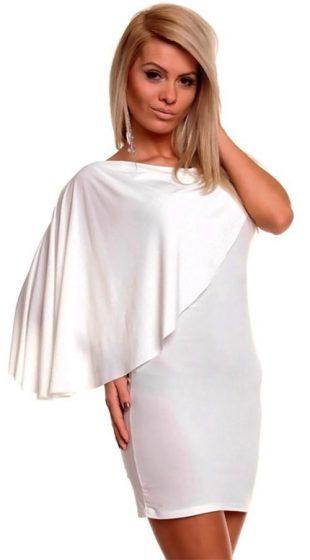 Dámské šaty na širší ramínko a efektním šálem