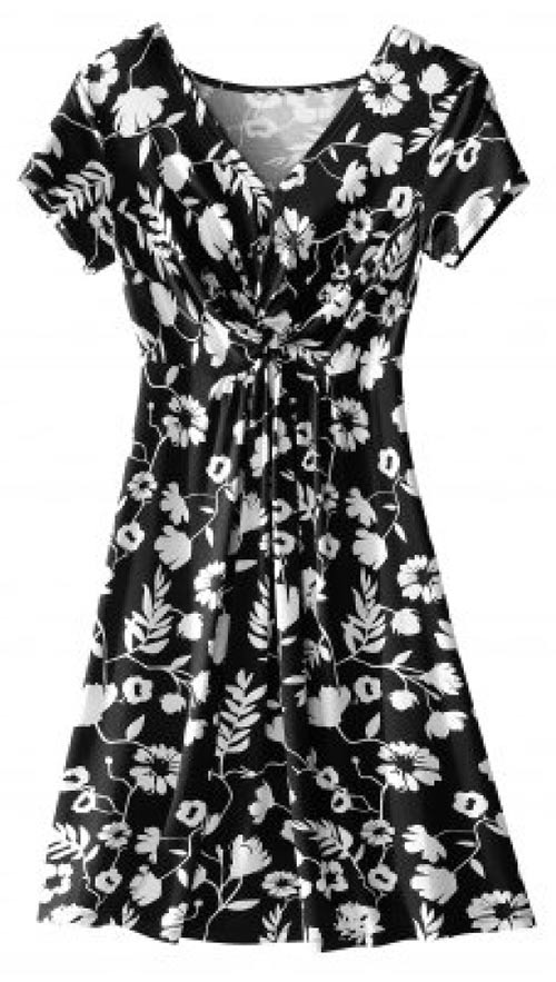 Černobílé květinové šaty