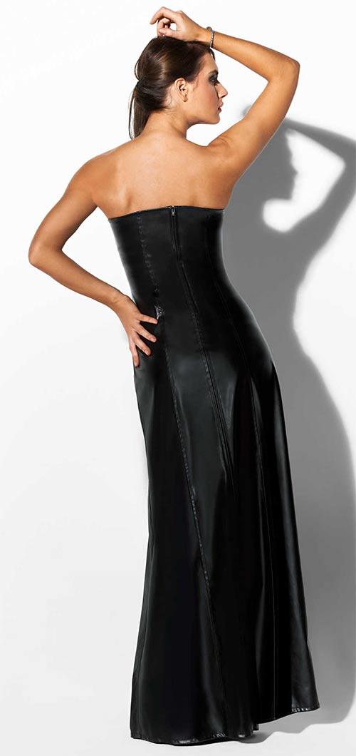 Korzetové černé kožené šaty