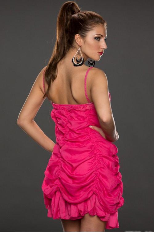 Růžové mini šaty na léto na tenká ramínka