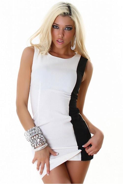Černo bílé krátké šaty bez rukávu