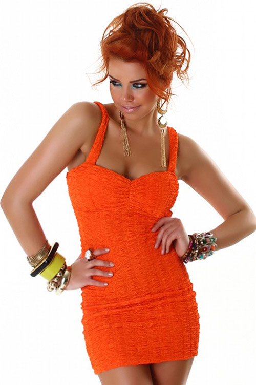 Nekrčivé minišaty oranžové barvy
