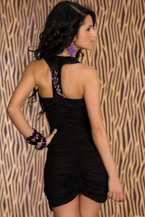 Krátké černé mini šaty s ramínkama za krk
