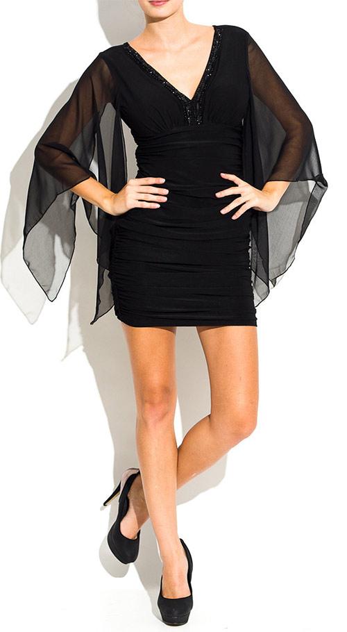 Černé dámské mini šaty s rukávem