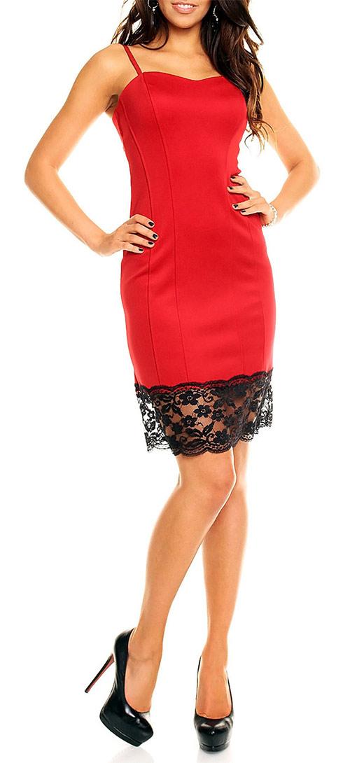 Červené plesové šaty s krajkou