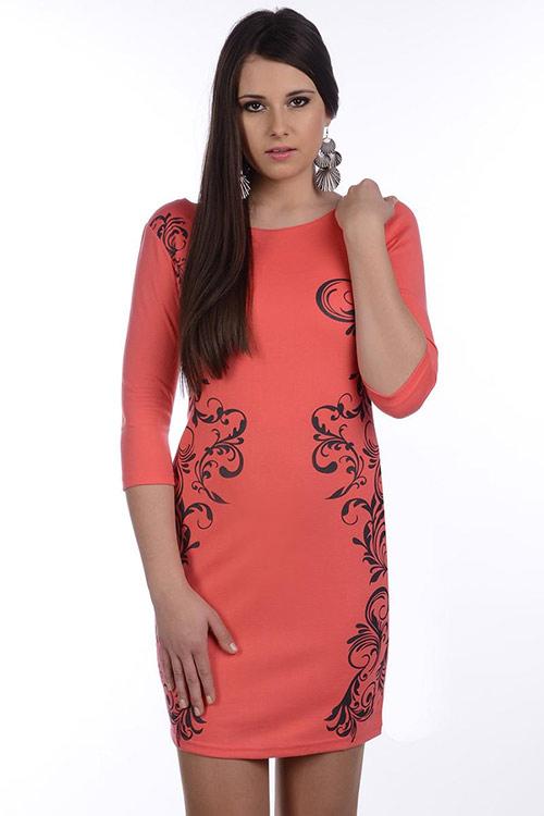 Atraktivní šaty s ornamenty Avaro 83064. Černé 7a65207050