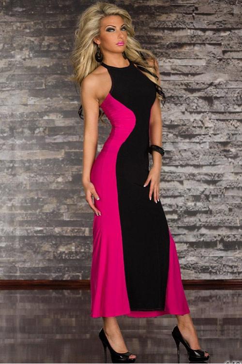 Sexy černo růžové dlouhé šaty bez rukávů