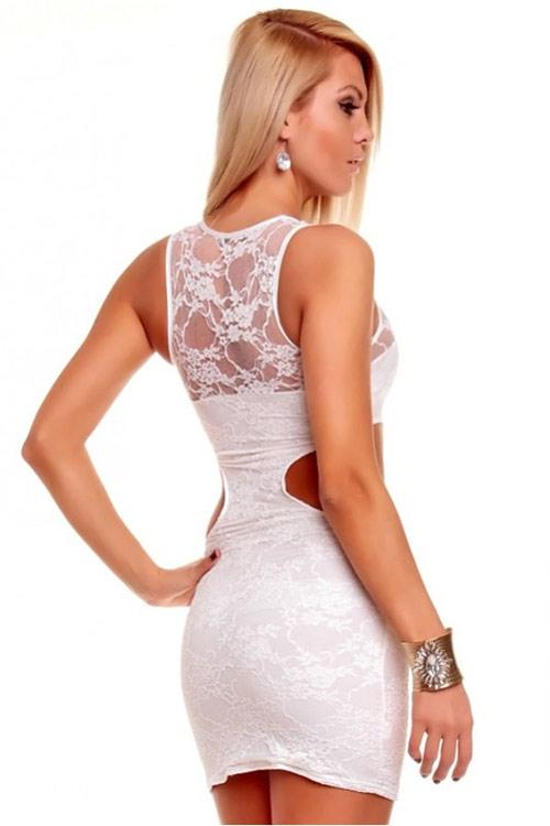 Svůdné krémově bílé krajkové mini šaty
