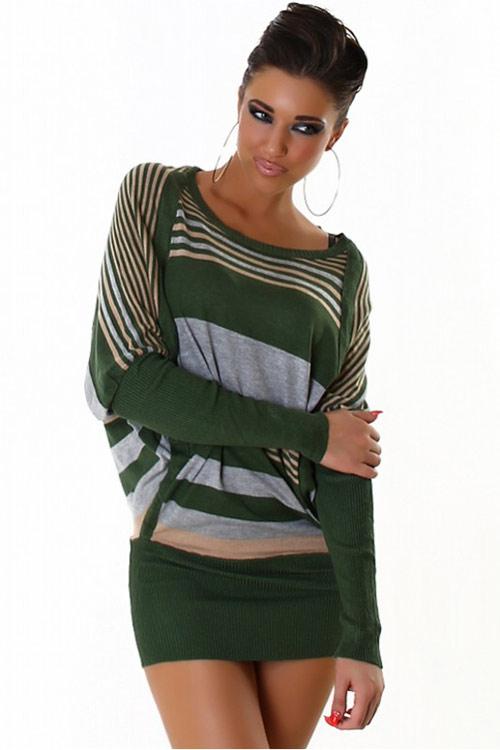Zelené úpletové mini šaty s netopýřím rukávem