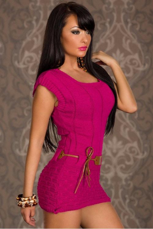 Růžový pletený svetřík - ultra minišaty