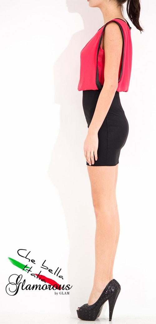 Dámské krátké šaty s koženkou