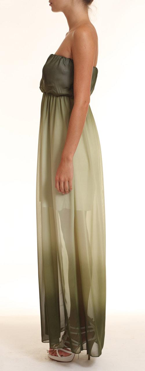 Dlouhé letní šaty v tmavě zelené barvě