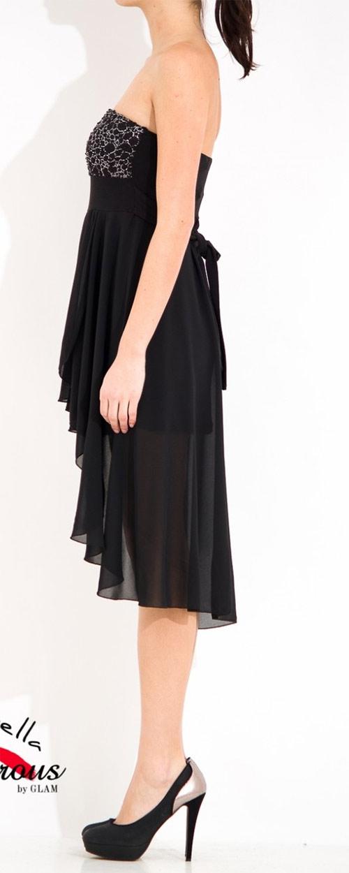 Společenské krátké šaty bez ramínek