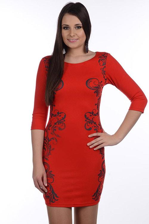 Atraktivní šaty s ornamenty Avaro 83064