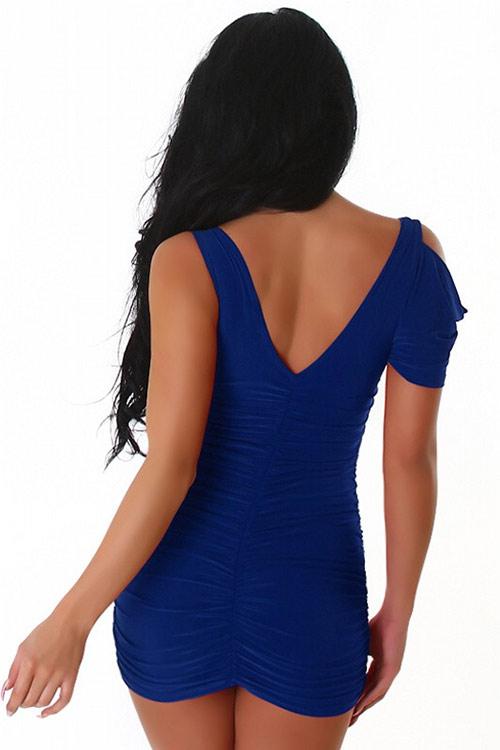 Sexy modré nabírané minišaty s krátkým rukávem