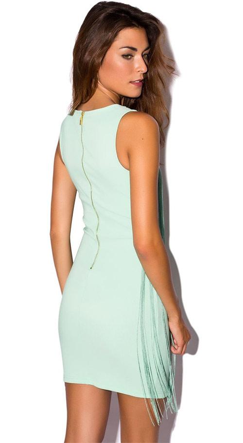 Letní šaty světle zelené s provázky