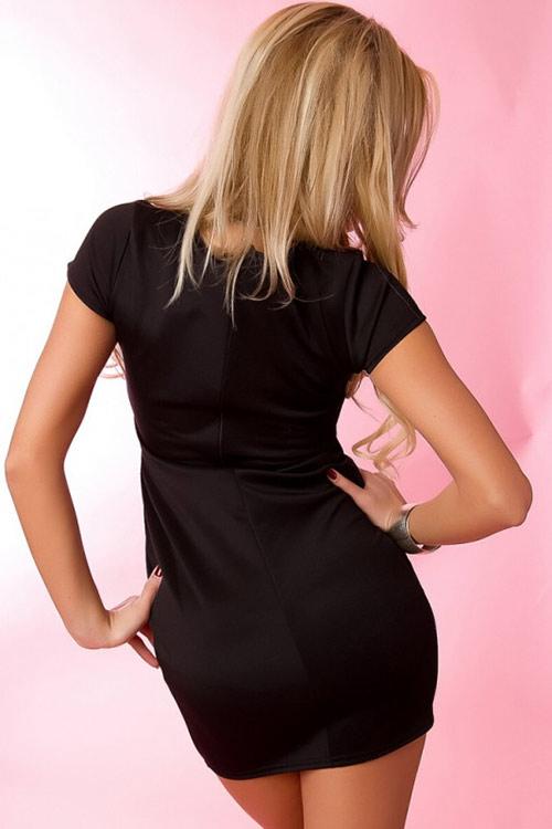 Dámské černé mini šaty s kamínky