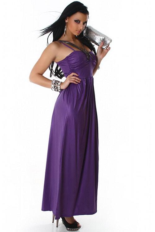 Dlouhé jemně lesklé fialové šaty na tenké ramínka