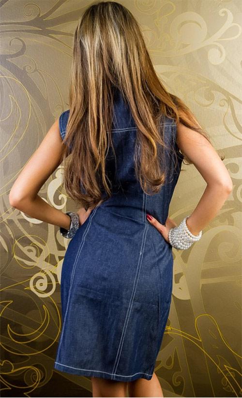 Módní dámské džínové mini šaty bez rukávu