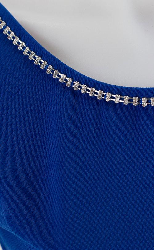 Modré šaty se stříbrnýma kamínkama