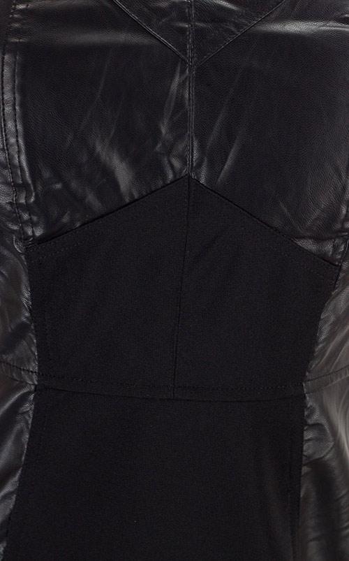 Společenské černé šaty s koženkou