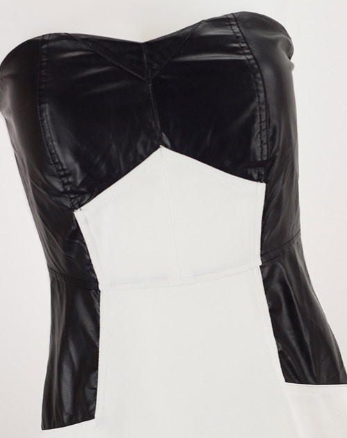Bílé šaty s černou koženkou